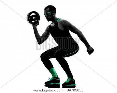 one man exercising weight disk fitness crossfit  in silhouette isolated on white background
