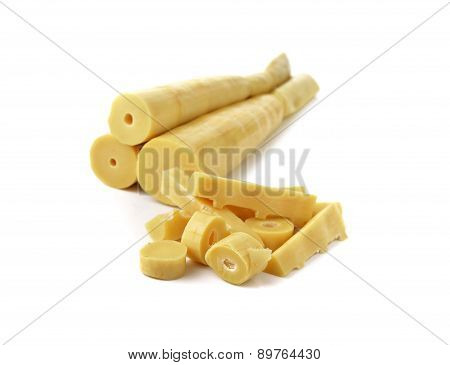 Boiled Bamboo Shoots On White Background