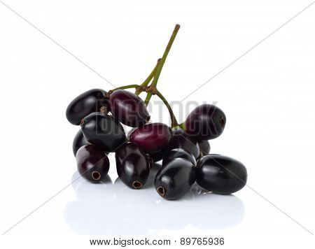 Jambolan Plum Or Java Plum With Stem On White Background
