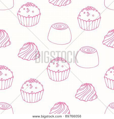 Seamless Pattern With Outline Candies