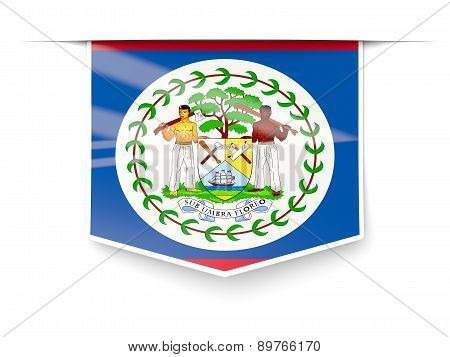 Square Label With Flag Of Belize