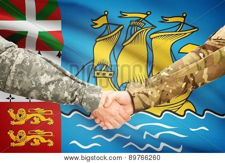 Men In Uniform Shaking Hands With Flag On Background - Saint-pierre And Miquelon