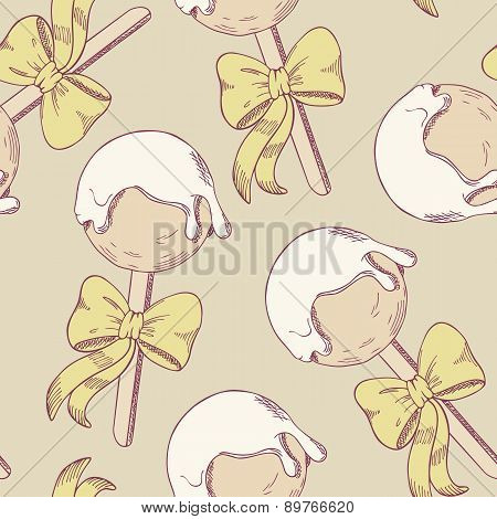 Cake Pops With Bow Seamless Pattern
