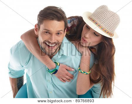 Portrait of happy couple isolated on white background.