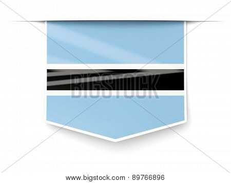 Square Label With Flag Of Botswana