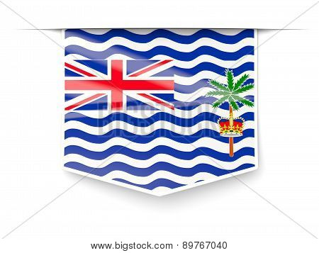 Square Label With Flag Of British Indian Ocean Territory