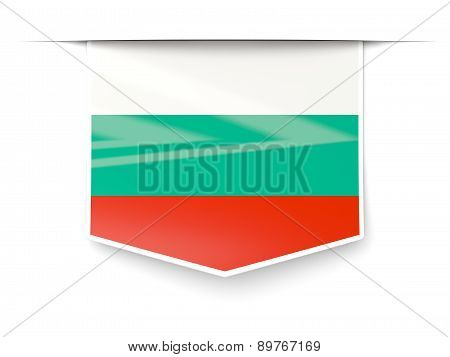 Square Label With Flag Of Bulgaria