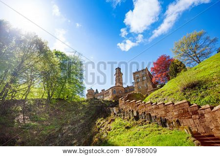 View of Lowenburg castle on the hill and stairs