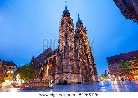 St. Lawrence church at night after rain, Nuremberg