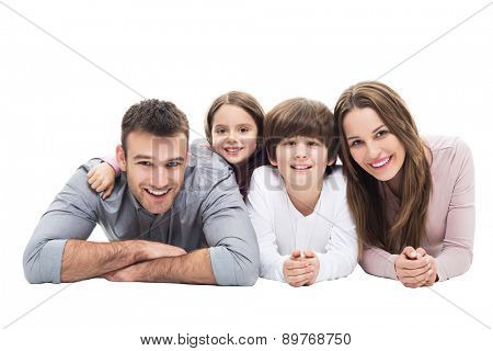 Happy family with two kids
