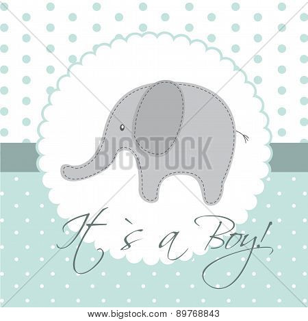 Baby Shower Card With Cute Elephand Vector Illustration