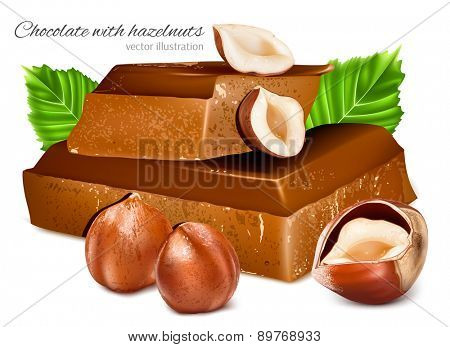 Chocolates with hazelnuts. Vector illustration.