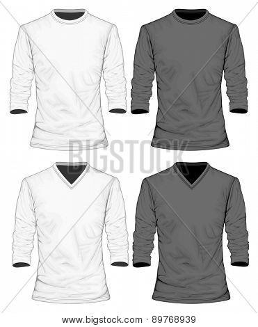 Men's t-shirt long sleeve. Vector illustration.