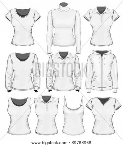 Big women's clothes collection. Vector illustration