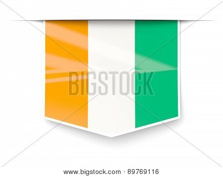Square Label With Flag Of Cote D Ivoire