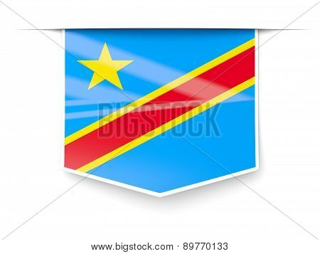 Square Label With Flag Of Democratic Republic Of The Congo