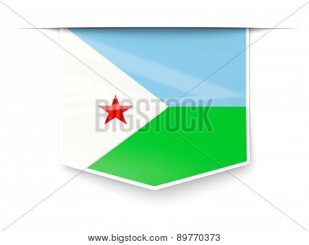 Square Label With Flag Of Djibouti