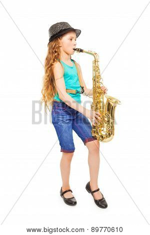 Beautiful girl with hat playing alto saxophone