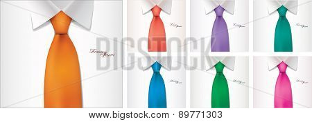 7 color variables of shirt and tie illustration