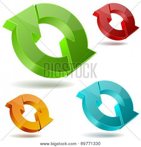 Icons of glossy circulating 3D arrows isolated on white background.