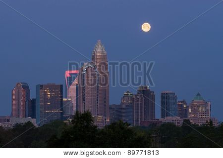 Moonset over Charlotte, NC
