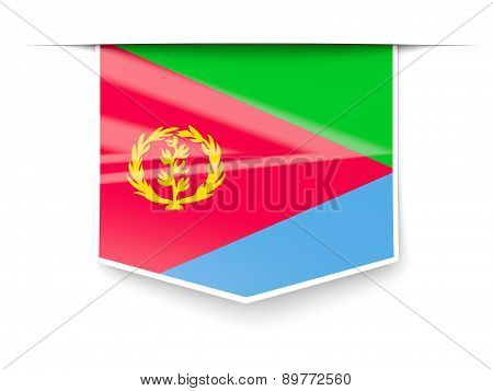 Square Label With Flag Of Eritrea