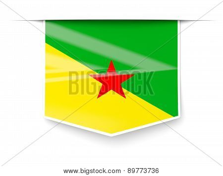 Square Label With Flag Of French Guiana