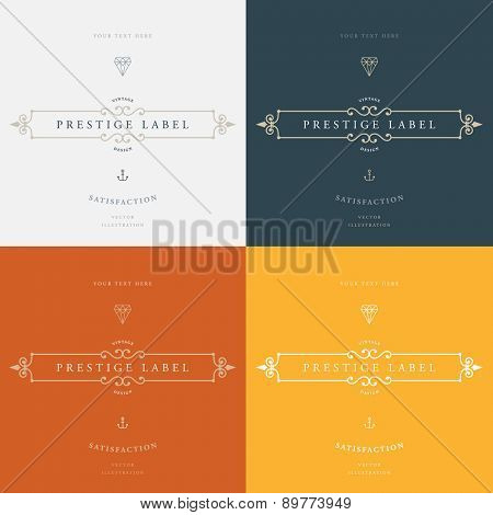 Set of Vintage Frame for Luxury Logos, Restaurant, Hotel, Boutique or Business Identity. Royalty, Heraldic Design with Flourishes Elegant Design Elements. Vector Illustration Template.