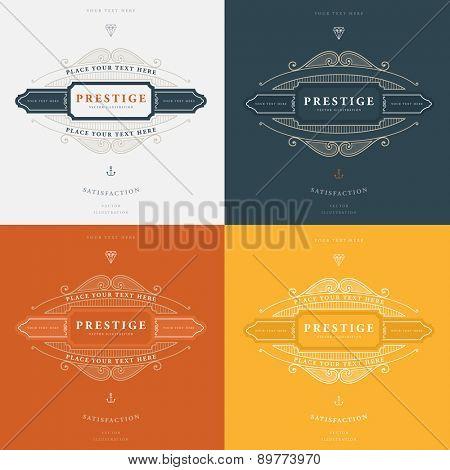 Set of Vintage Frame for Luxury Logos, Restaurant, Hotel, Boutique or Business Identity. Royalty, Heraldic Design with Flourishes Elegant Design Elements. Vector Illustration Template.