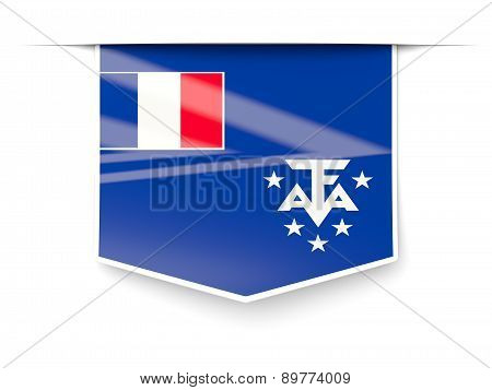 Square Label With Flag Of French Southern Territories