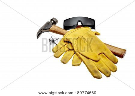 Hammer, Nails, Safety Goggles And Work Gloves