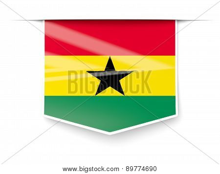 Square Label With Flag Of Ghana