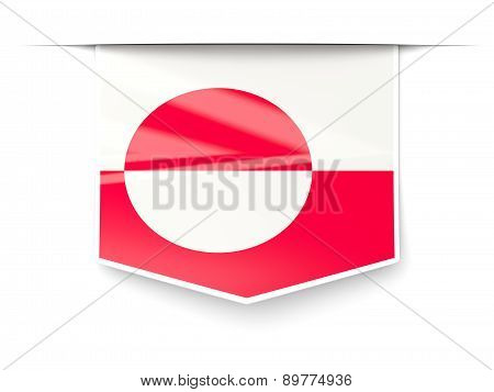 Square Label With Flag Of Greenland