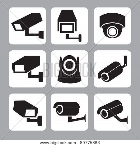 Collection of CCTV and security camera icon