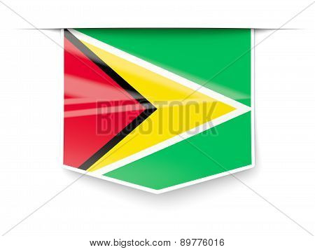 Square Label With Flag Of Guyana