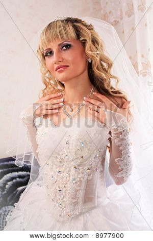 Beautiful Blond Bride  On Her Wedding Day