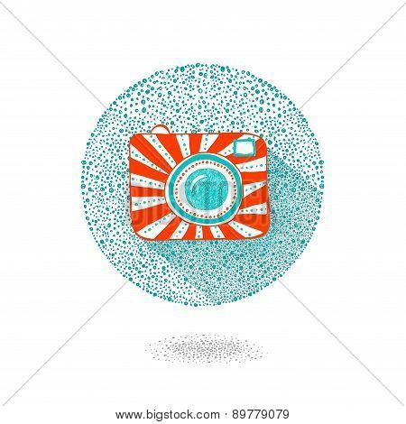 Vector illustration sketch vintage retro photo camera.Camera Icon - vector illustration
