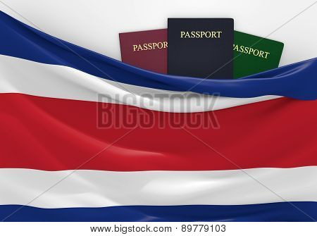 Travel and tourism in Costa Rica, with assorted passports
