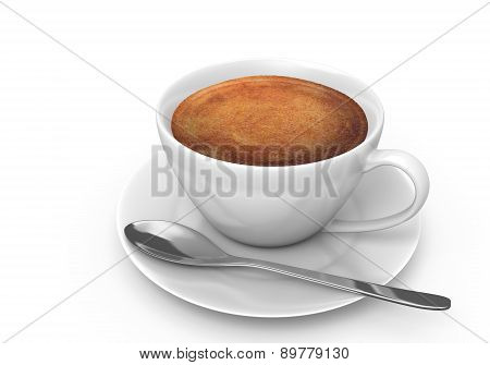 Hot espresso coffee in a white cup with a saucer and spoon