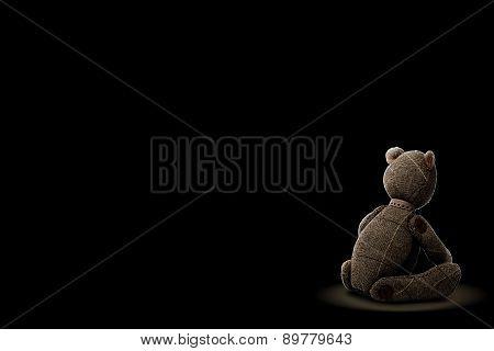 Sadly Bear Patchwork Isolated On Black Background