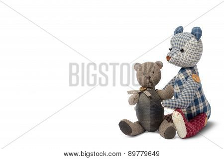 Couple Bear Patchwork Isolated On White Background