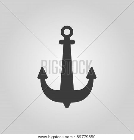 The Anchor Icon. Ocean Symbol. Flat