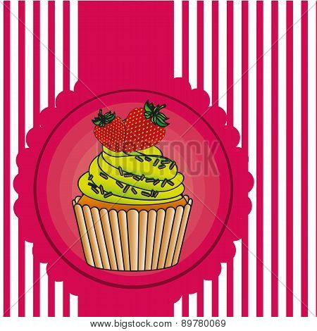 Cupcake Label On Bottom Lines Vector Illustration