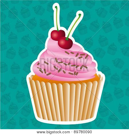 Sticker Cupcake On Cupcakes Pattern Background Vector Illustrati