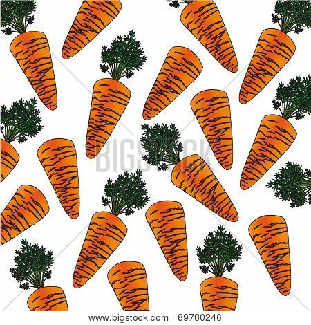 Background Pattern Carrot Cartoon Vector Illustration