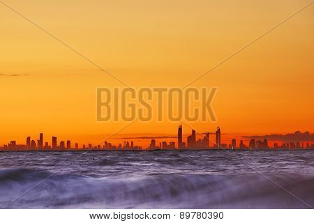 View of the Gold Coast over the ocean