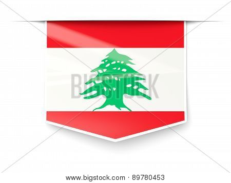Square Label With Flag Of Lebanon