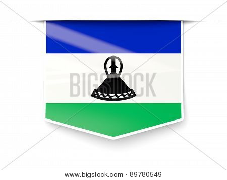 Square Label With Flag Of Lesotho