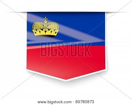 Square Label With Flag Of Liechtenstein