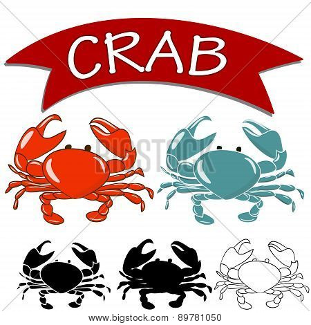 Cooked crab and live crab isolated on white background.